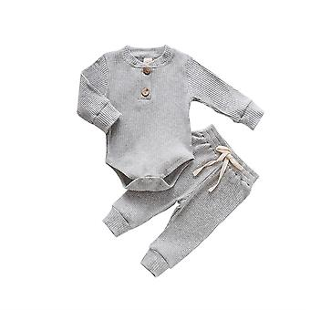 Newborn Baby Spring, Autumn Ribbed Solid Clothes Sets - Long Sleeve Bodysuits +