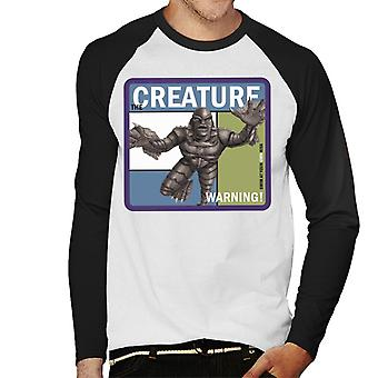 The Creature From The Black Lagoon Warning Men's Baseball Long Sleeved T-Shirt