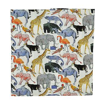 Ties Planet Zoo Birds & Animals Blue Designer Pocket Square Batista Made With Liberty Fabric