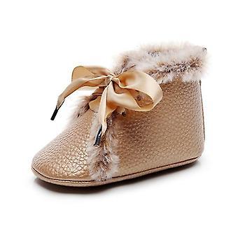 حديثي الولادة الطفل بو الأحذية الشتوية المضادة للانزلاق المخملية الدافئة الأولى السائرون لينة Soled