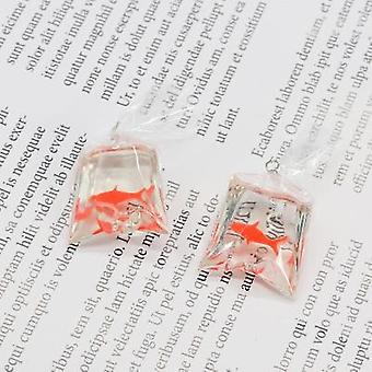 10pcs Transparent Resin Goldfish Charms Small Fish Bag Jewelry Pendant Earrings