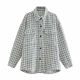 Cappotto giacca a maniche lunghe a plaid vintage