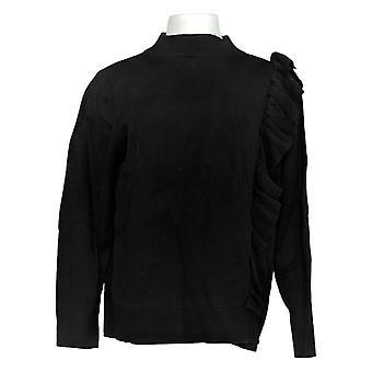 Joan Rivers Classics Collection Kvinder's Sweater Ruffle Black A310870