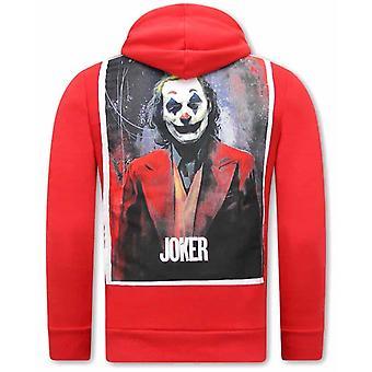 Joker Print Hoodie - Red