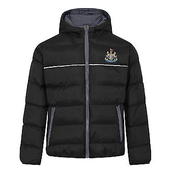 Newcastle United Boys Jacket Hooded Winter Quilted Kids OFFICIAL Football Gift