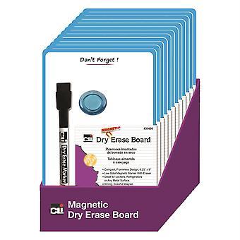 """Schede magnetiche mini dry erase, 6-1/4"""" X 9"""", marker W/gomma e 1 magnete, telaio blu, confezione da 12"""