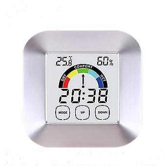 Huishoudelijk aanraakscherm digitale klok temperatuur vochtigheid weer te geven alarm buiten indoor tester