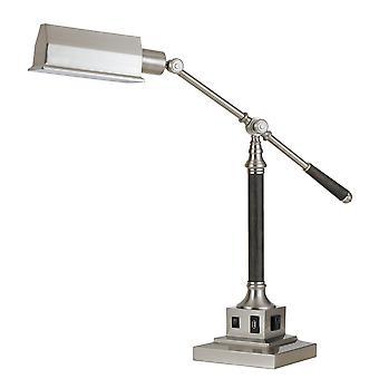 Lámpara de escritorio de metal de 60 vatios con brazo y cabeza ajustables, plata