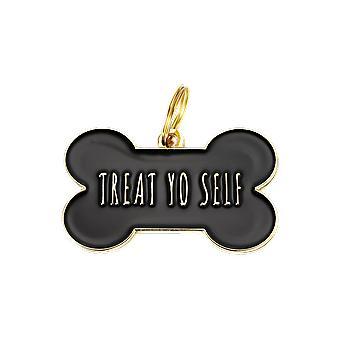 Pet Id Tag - behandeln Yo Self - Schwarz