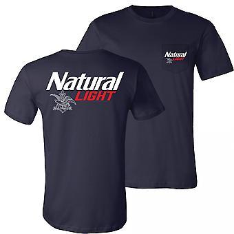 Natural Light Logo Edessä ja takana Print Pocket Tee