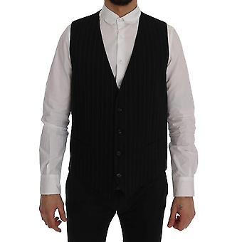 Dolce & Gabbana svart personal bomull bred randig väst väst väst