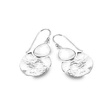 Boucles d'oreilles en argent sterling - Origins Circle + Croissant texturé