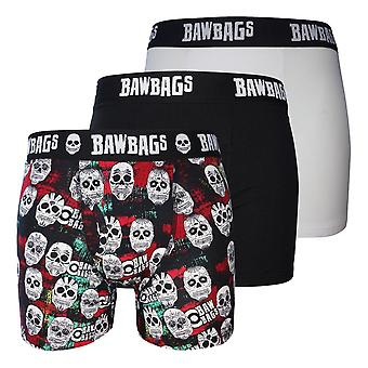 Bawbags Originals Skulls 3 Pack Boxer Shorts - Multi