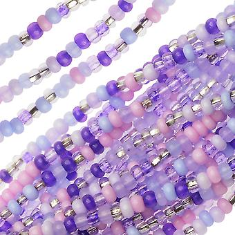 Czech Glass Seed Beads, 11/0 Round, 1 Hank, Purple Parasols Mix