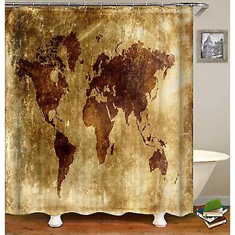 Stary skórzany arkusz Świat Mapa Prysznic Kurtyna
