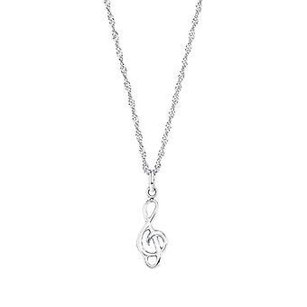 アモール - バイオリンキーの形をしたペンダントを持つ女性のネックレス、ホワイトゴールド375