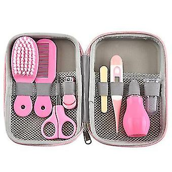 Pink baby nail clippers, nasal aspirator, electronic thermometer combo set az19562