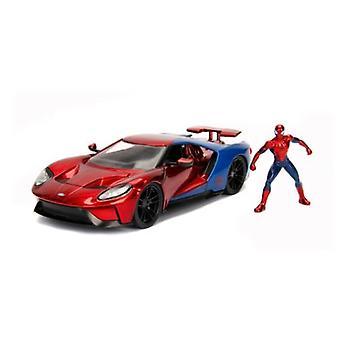 Spider-Man Marvel Figur och 2017 Ford GT 1:24 Skala Jada 99725