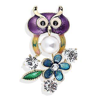 Lovely Corsage Owl Ladies Brooch Painted Enamel Brooch Pin