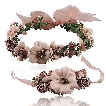 Flower Hair Band Hair Garland Parenting Set Wedding Hair Ribbon Wreath