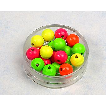 LAST FEW - 12mm Assorted Neon Wooden Threading Beads Adults Crafts - 20pk