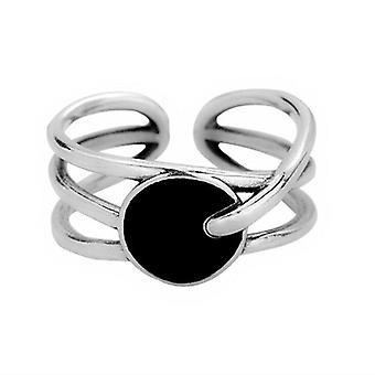 3PCS Silver plating Ring For Women Round Black Drop Glaze Irregular Finger Ring