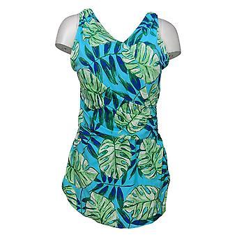 الدنيم وشركاه ملابس السباحة بيتش المطبوعة Surplice السباحة اللباس الأزرق A375181