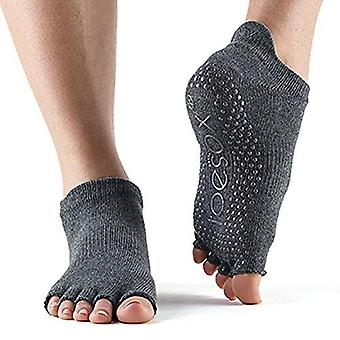 ToeSox Half Toe Low Rise Pilates Yoga Dance Grip Socks Barefoot - Charcoal Grey/Lime