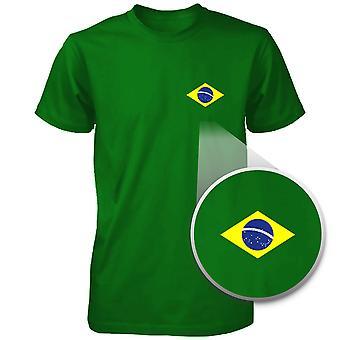 ブラジル国旗ポケットはブラジルの緑のユニセックス半袖 t シャツを印刷