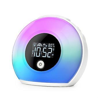 Wireless Bluetooth5.0 Speaker Subwoofer Night Lamp Speaker Clock Lamp|Portable Speakers(White)