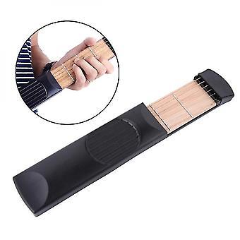 Instrument de musique pratique Poches portables Guitare acoustique Outil de pratique Gadget 6 Cordes 4 Fret