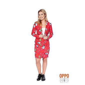 Dames de Christian Miss Noël costume rouge Opposuit 70 Slimline 2 prime UE tailles