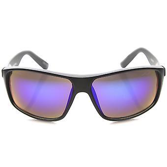 Mens occhiali da sole rettangolari con UV400 protezione lente specchiata