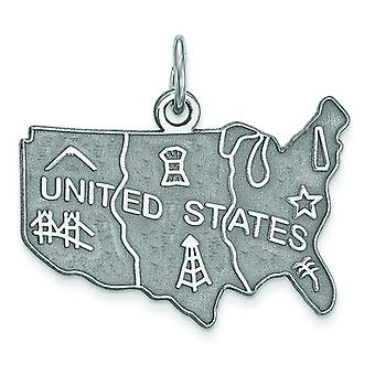 925 Sterling Argent Solid Satin Engravable United States Charm Pendant Necklace Jewelry Gifts for Women