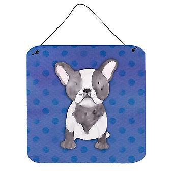 Bulldog francese Polkadot acquerello parete o porta appeso stampe