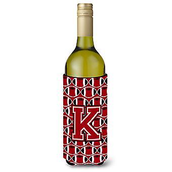 Letter K Football Red, Black and White Wine Bottle Beverage Insulator Hugger