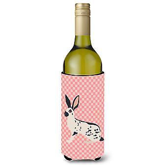 English Spot Rabbit Pink Check Wine Bottle Beverge Insulator Hugger