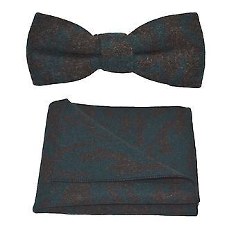 Luxus-arabische dunkles Petrol / Muster-Bow-Tie & Einstecktuch Satz
