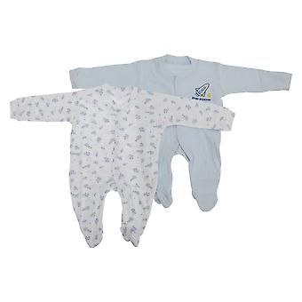 Baby Patterned Long Sleeve Sleep Suits Boy, Girl And Unisex Options (Pack Of 2)