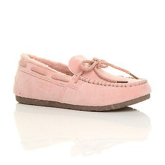 Ajvani kvinners faux sheepskin pels fleksibel eneste båt sko mokkasiner tøfler