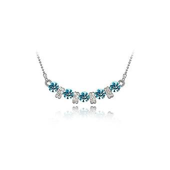 Womens Crystal Blue Stone Pendant Necklace BG1451