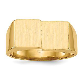retro di 14 k giallo oro solido raso lucido aperto Engravable Mens dell'anello di Signet - 7,6 grammi - Dimensioni 10