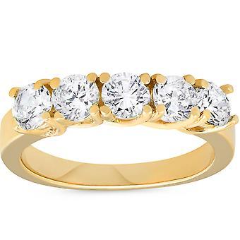 Aniversario de bodas de diamante Real de 1 1 / 2ct de 14 K anillo de oro
