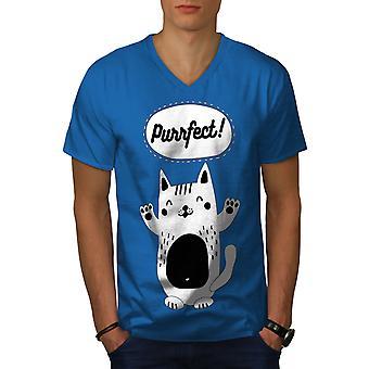 Cat Perfect Joke Funy Men Royal BlueV-Neck T-shirt   Wellcoda