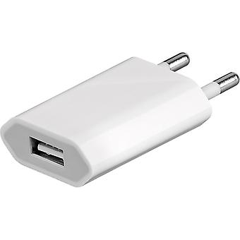 Universal charger charging adapter 1 A for smartphones tablets and more. White
