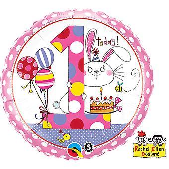 Qualatex 18 Inch Polka Dot Bunny Design 1 Today Circular Foil Balloon