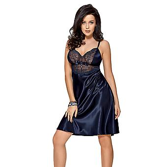 Gorsenia K456 Women's Yowita Navy Blue Solid Colour Lace Long Chemise