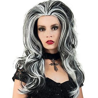 Samanta pruik lange haren zwart-wit