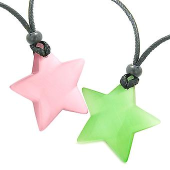 Super ster amuletten liefde paar of beste vrienden Set roze groen Cats Eye Crystal Kettingen