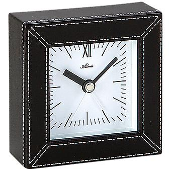 Atlanta 3049 alarm clock quartz analog leather look black square